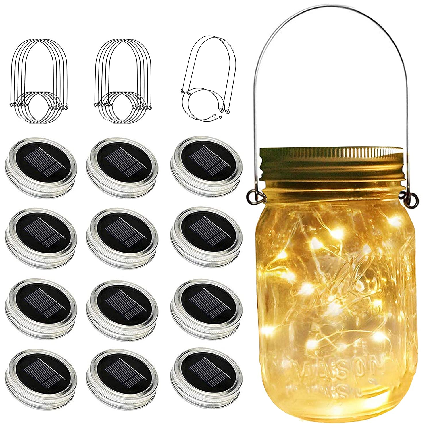Solar Mason Jar Lights, 12 Pack 30 Led String Fairy Star Firefly Jar Lids Lights, (Jars Not Included), Best for Mason Jar Decor,Great Outdoor Lawn Decor for Patio Garden, Yard and Lawn.