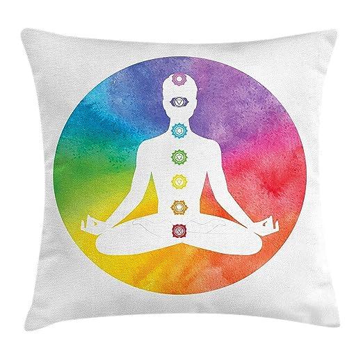 LanDu Funda de cojín para Yoga, con Silueta de posición de ...