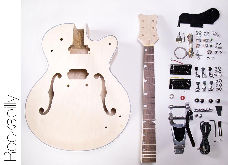 DIY - Kit de Guitarra Eléctrica Cuerpo Hueco construir su propio - Kit de Guitarra Rockabilly: Amazon.es: Instrumentos musicales