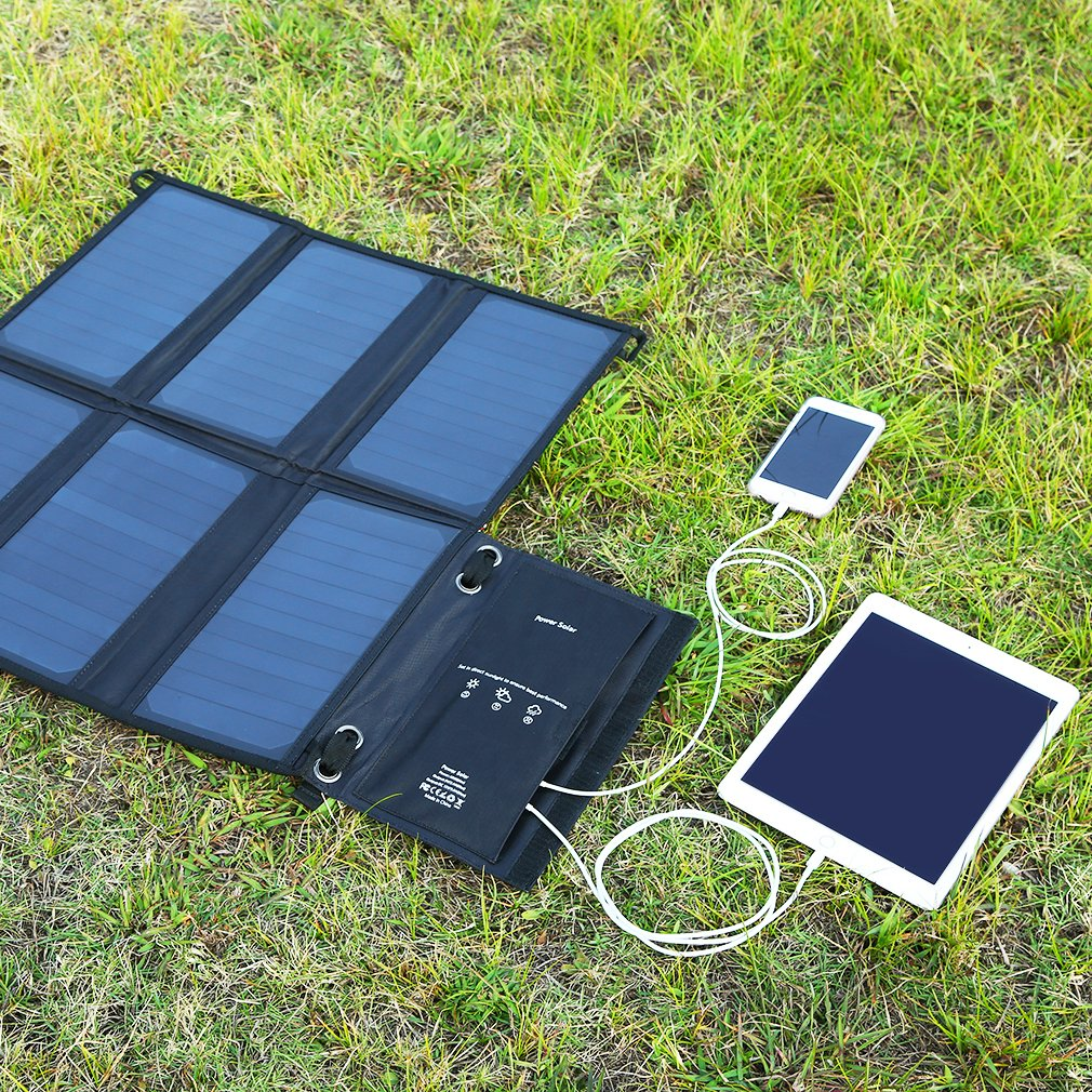 LESHP Highest Efficient Solar Charger 40W Foldable Sunpower Solar Panel Charger Dual Output (5V USB + 12V DC) For StorageBattery, iPhone, iPad, Android Smart Phone by LESHP (Image #4)