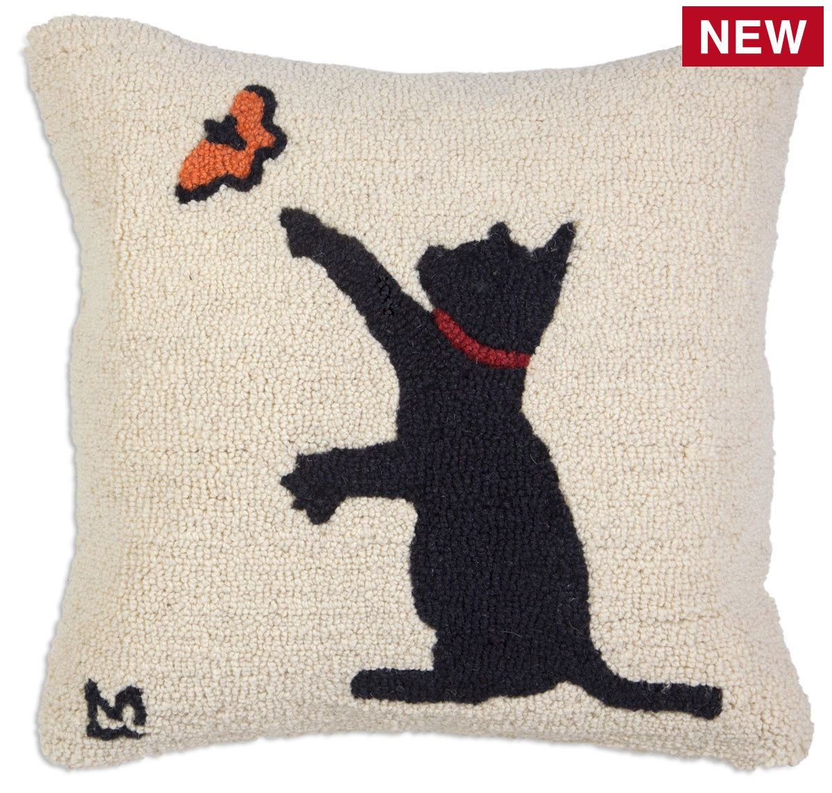 Chandler 4 Corners Black Cat with Butterfly 18'' Pillow