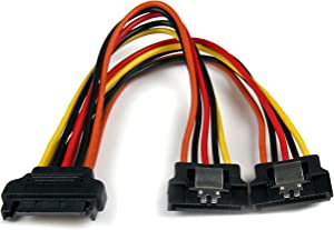 StarTech.com 6in Latching SATA Power Y Splitter Cable Adapter - M/F - 6 inch Serial ATA Power Cable Splitter - SATA Power Y Cable Adapter (PYO2LSATA)