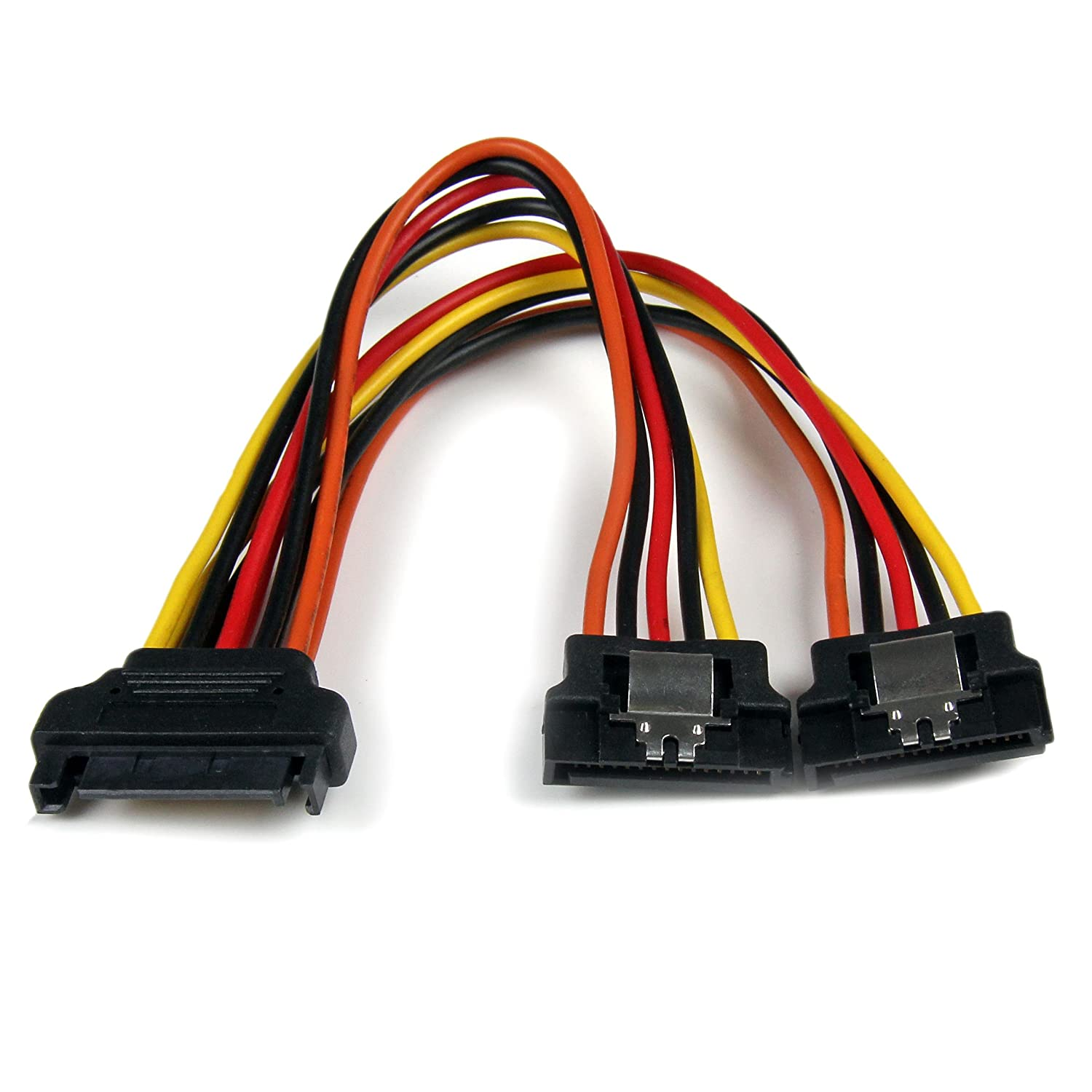 amazon com 6in latching sata power y splitter cable adapter m f
