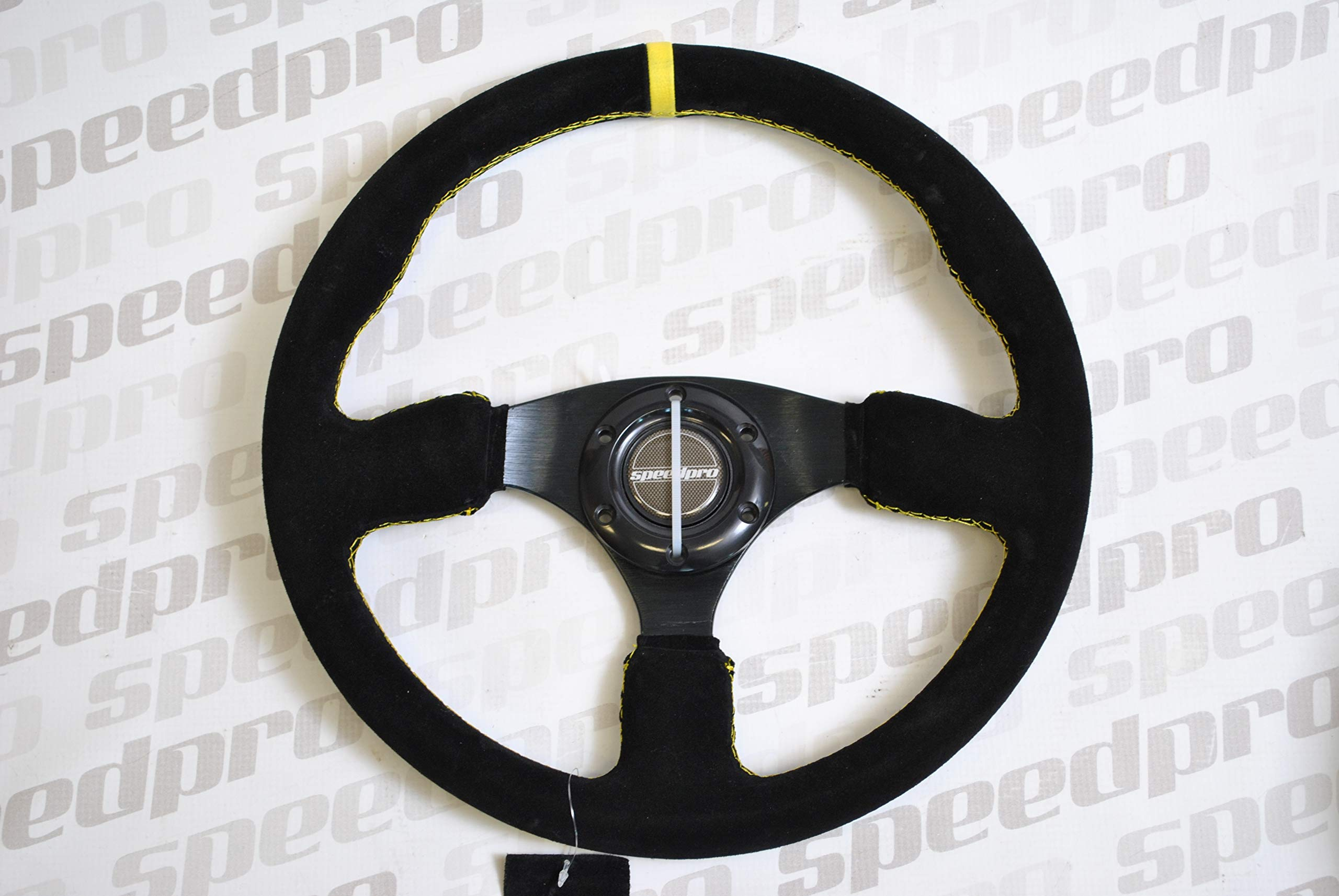 350mm Deep Dish 6 Bolt JDM Sport Racing Steering Wheel Suede Leather Horn Button