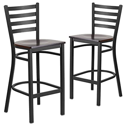 Astonishing Flash Furniture 2 Pk Hercules Series Black Ladder Back Metal Restaurant Barstool Walnut Wood Seat Alphanode Cool Chair Designs And Ideas Alphanodeonline
