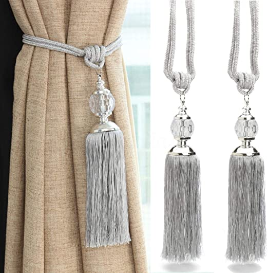 Amazon Com Goowrom Crystal Beaded Curtain Tie Back 2pcs Tassel Tie Backs For Curtain Beautiful Curtain Holdback Rope Beige Tassel Home Kitchen