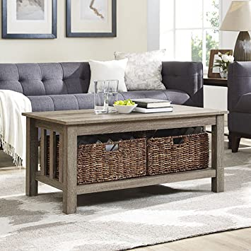 WE Furniture 40u0026quot; Wood Storage Coffee Table With Totes   Driftwood
