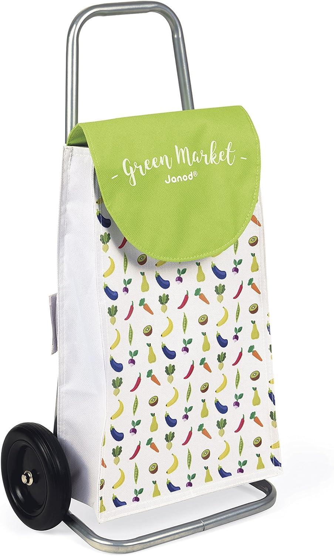 Janod Einkaufswagen Green Market mit Portemonnaie - Kinder Einkaufstrolley