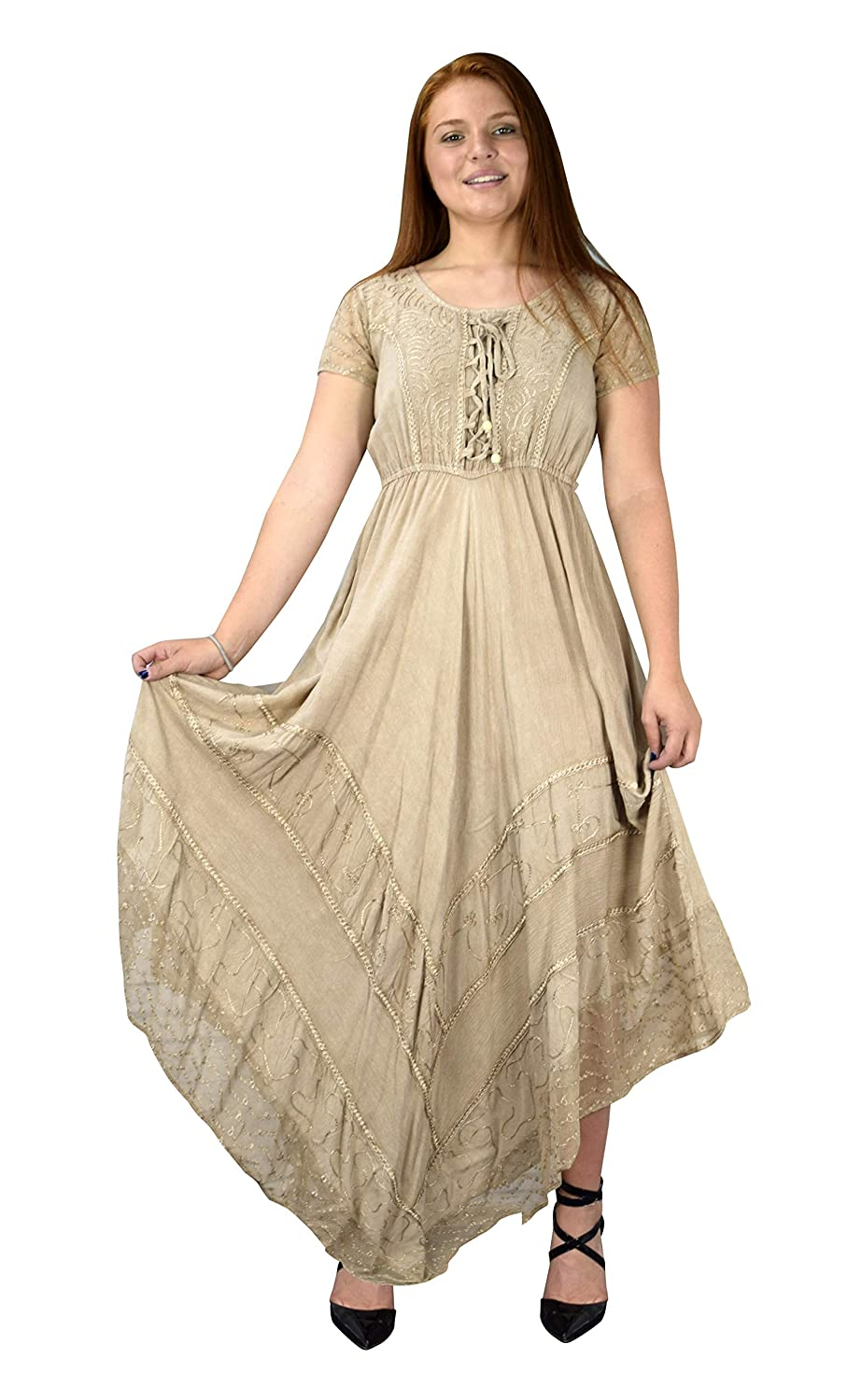 07305d4b4e NEW Exclusive Short Sleeve Trendy Boho Chic Vintage Style Dress with an  elegant handkerchief skirt and embroidered floral design by Peach Couture.