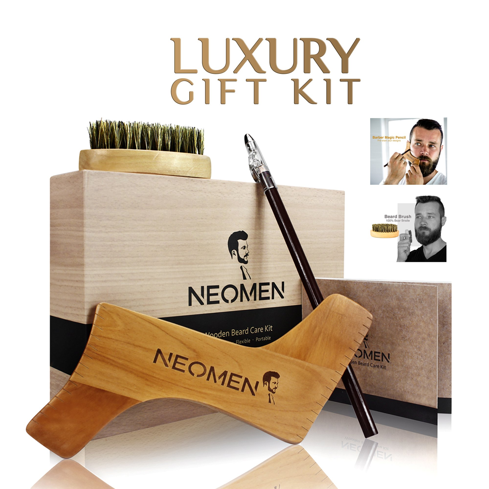 NEOMEN Wooden Beard Grooming Kit, Beard Shaping Template Designed for Various Beard Styles, With Boar Bristle Beard Brush & Barber Pencil, Helps to Achieve Perfect Goatee, Mustache & Neck Line by NEOMEN