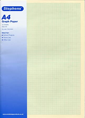 Stephens 10 Sheets of High Quality Metric Graph Paper, Ideal for