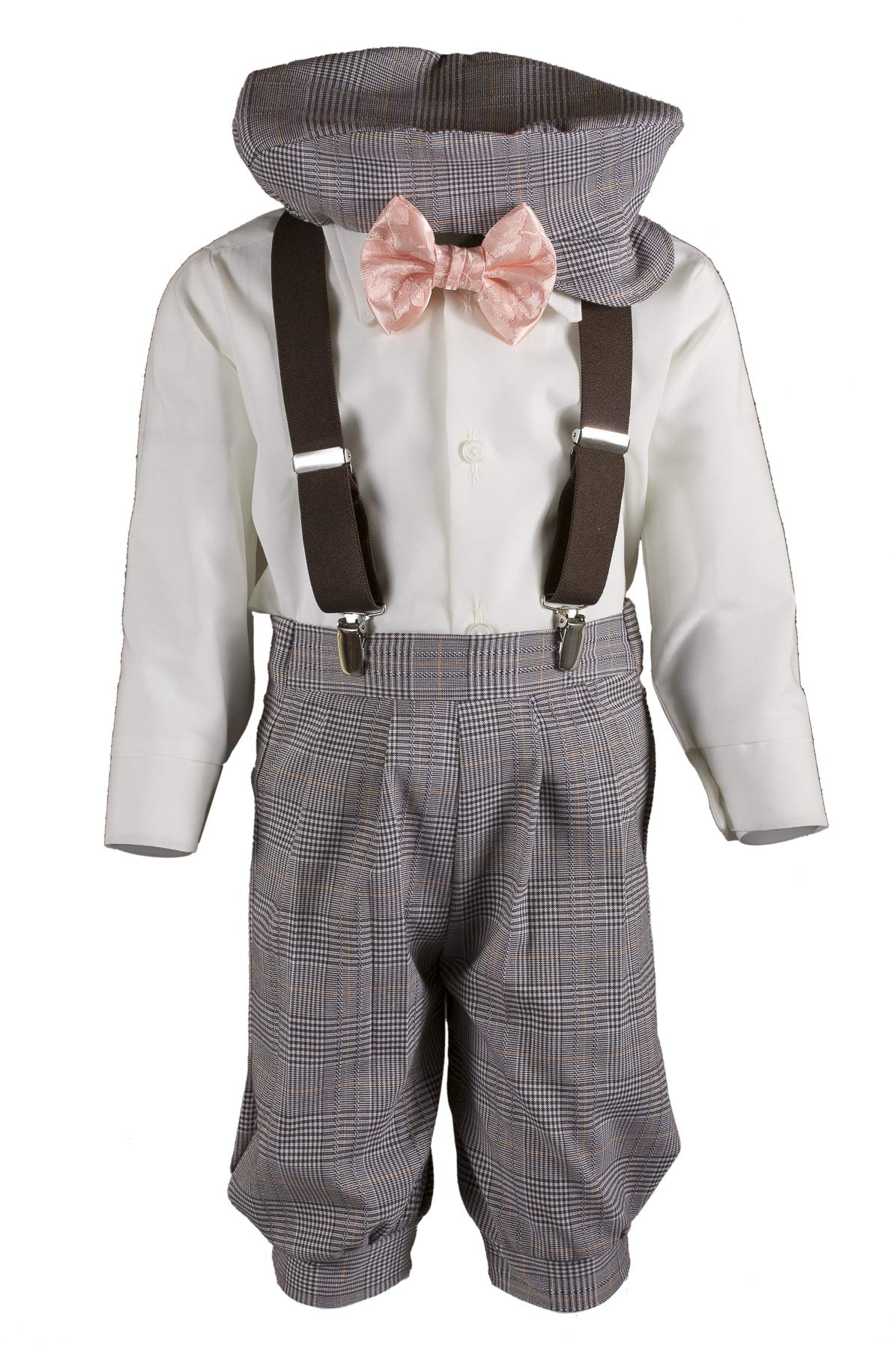 Boys Tan Plaid Knickers Pageboy Cap with Peach Rose Bow Tie & Suspenders (3T)