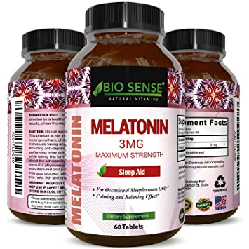 Bio Sense Melatonin 3 mg Sleep Aid Pills Vitamins Tablets for Natural Calm Relaxation Stress Reduction