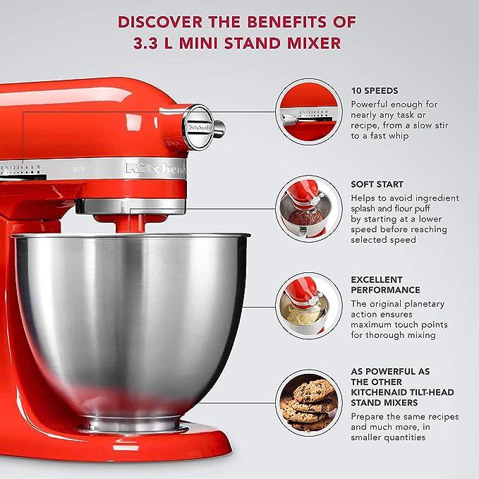 Kitchenaid Artisan Mini 5ksm3311xbht 3 3 Litre Stand Mixer Hot Sauce