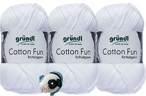 3x50 Gramm Gr/ündl Cotton Fun H/äkelgarn Schulgarn aus 100 /% Baumwolle 1 Anleitung f/ür ein Meerschwein 01 Weiss