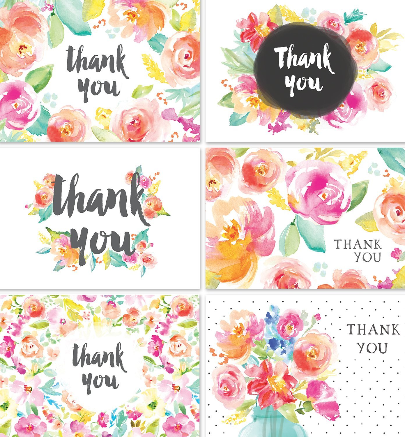 Thank You Cards Bulk Set | 36 Floral Thank You Notes with Envelopes | Blank Inside | Perfect for Baby Showers, Weddings, Bridal Showers, Women, and Business | By Angie Makes