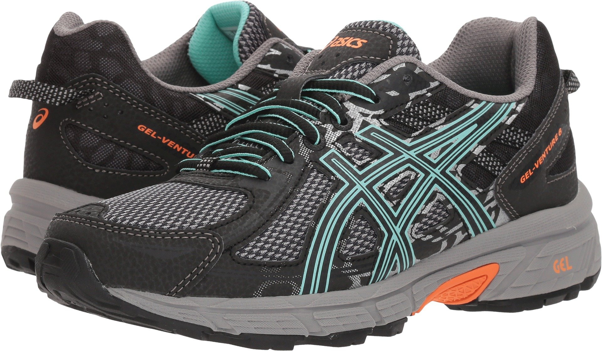 ASICS Womens Gel-Venture 6 Running Shoes Black/Ice Green/Orange 5 B(M) US
