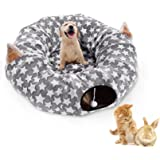 LUCKITTY Cat Dog Tunnel Bed with Cushion Tube Toys Oxford Cloth Large Diameter Longer Crinkle Collapsible 3 Way for…