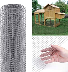 Tooca Hardware Cloth 1/4inch Chicken Wire Mesh, 46in x 25ft, 23 Gauge Hot-Dipped Galvanized Material, Fence Wire Mesh for Chicken Coop/Run/Cage/Pen/Vegetables Garden and Home Improvement Projects
