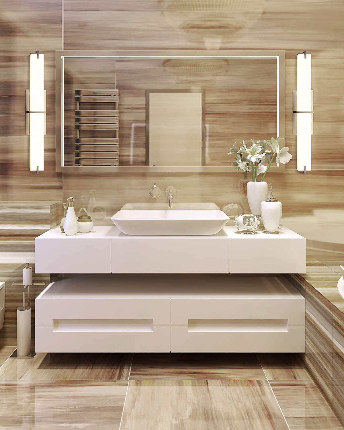 Cloudy Bay LED Bathroom Vanity Light,24 inch 4000K Cool White Bath Bar Fixture,20W 1000lm Dimmable,Brushed Nickel 41gyus82B1IL