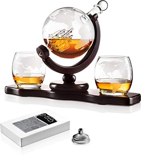 Chefoh Glass Globe Decanter Set W Whiskey Glasses Reusable Stone Ice Cubes Cherry Wood Stand Tongs Pour Funnel Liquor Wine Scotch Vintage Home Dining Bar Decor Liquor Decanters