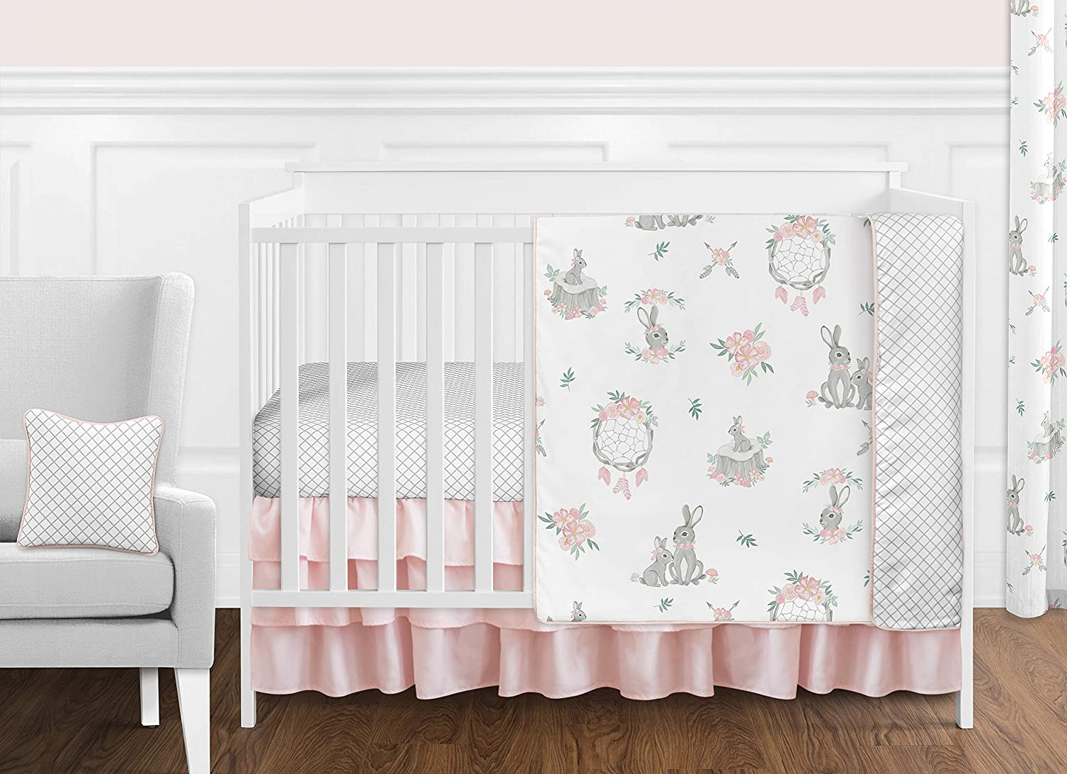 Linen baby girl cover Double-sided pinkmint green blanket with ribbons Linen baby girl blanket Nursery bedding or baby stroller.