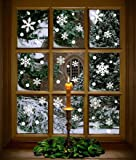 Moon Boat 272PCS Christmas Snowflakes Window Clings Decals Winter Wonderland Decorations Ornaments Party Supplies