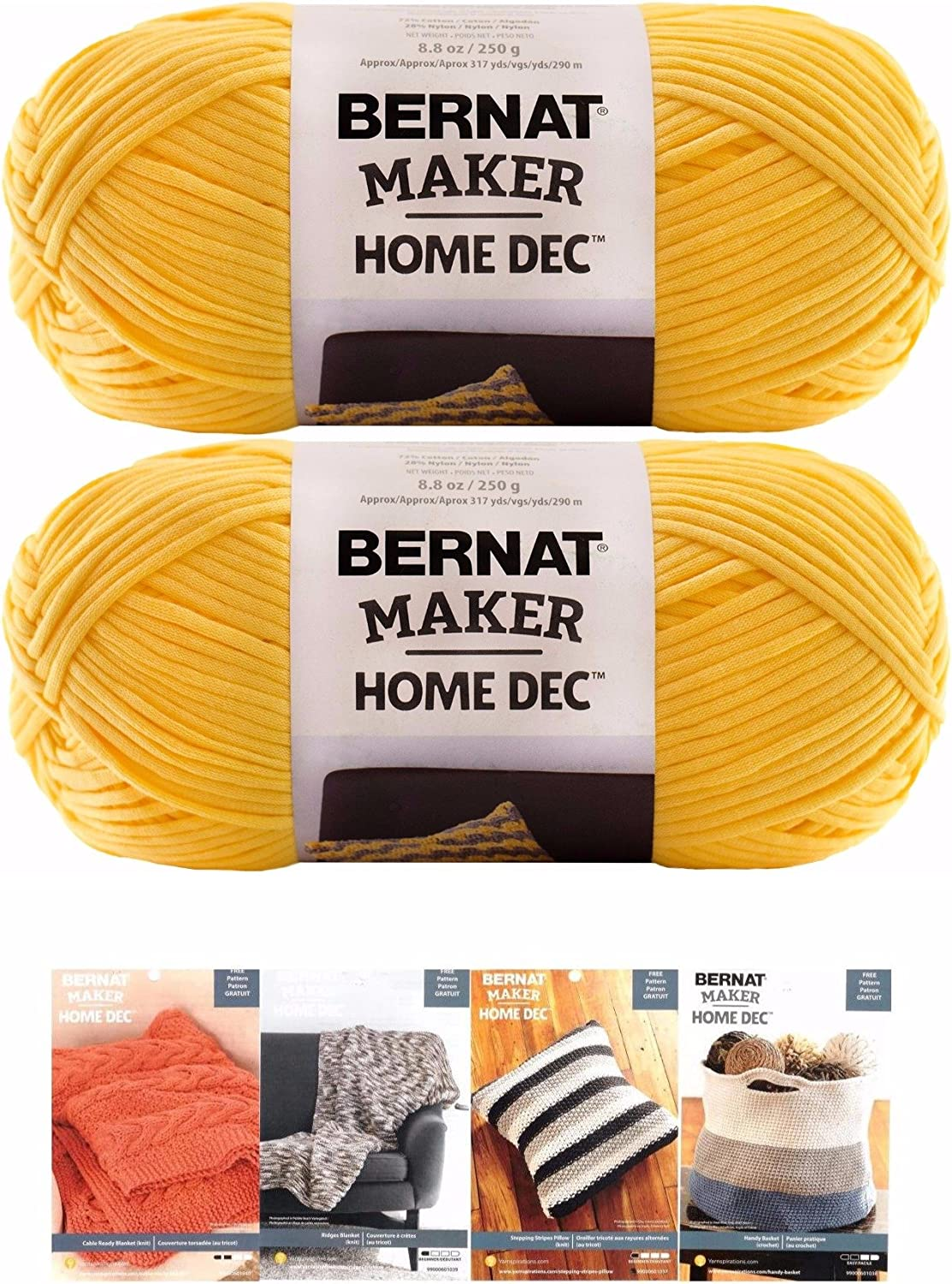 Bernat Maker Home Dec Corded Yarn Bundle 2 Skeins with 4 Patterns 8.8 Ounce Each Skein (Gold)