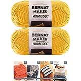 Bernat Maker Home Dec Corded Yarn Bundle 2 Skeins with 4 Patterns 8.8 Ounce Each Skein (Gold)