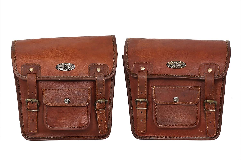 Bolso de piel para sillín de motocicleta, color marrón (2 bolsas)