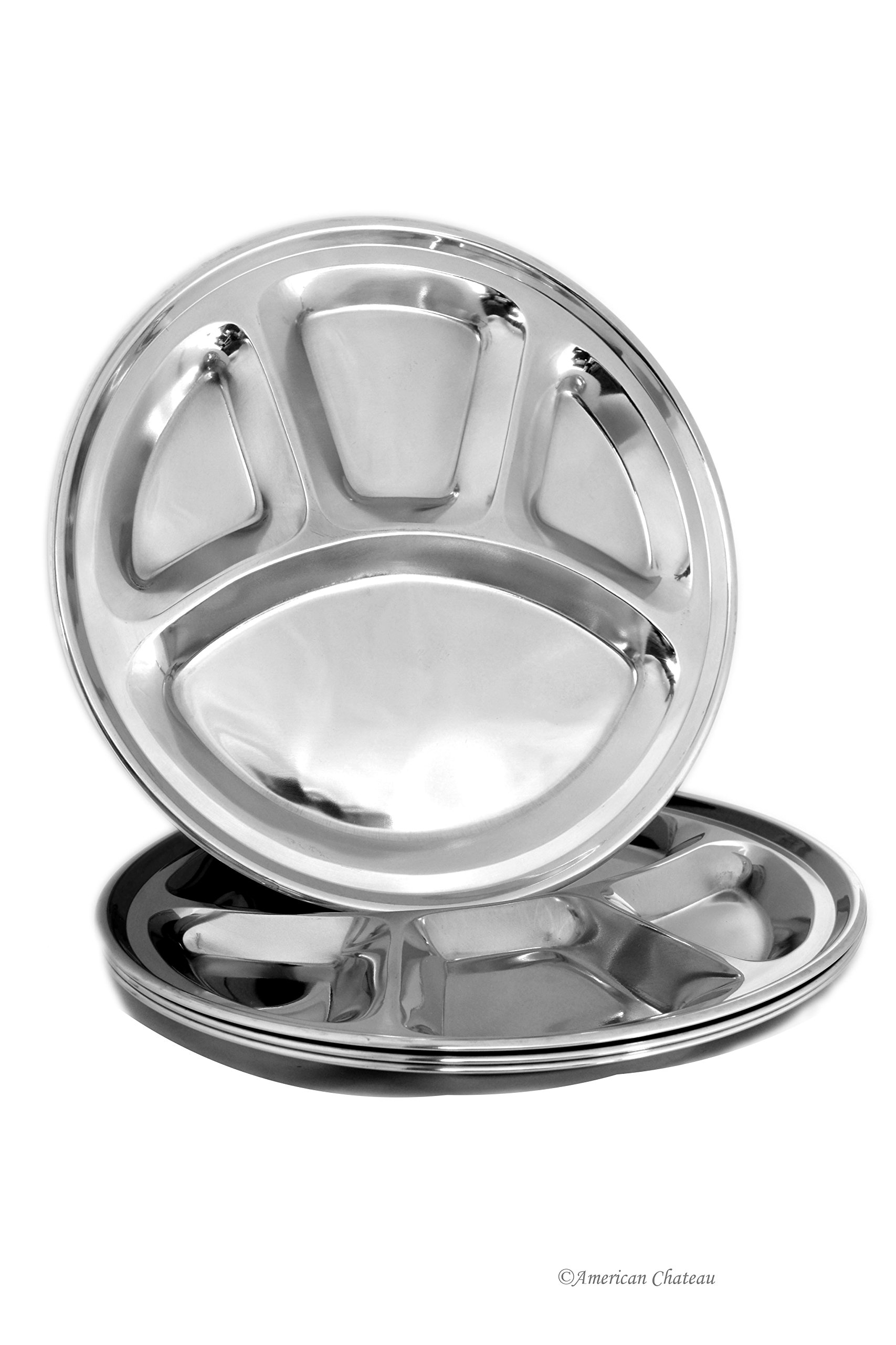 Set 4 Divided Stainless Steel 11.5'' Fondue/Indian Food Tray Platters Plates