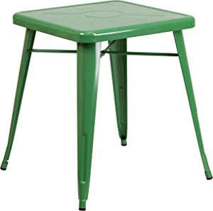 """Flash Furniture Commercial Grade 23.75"""" Square Green Metal Indoor-Outdoor Table"""