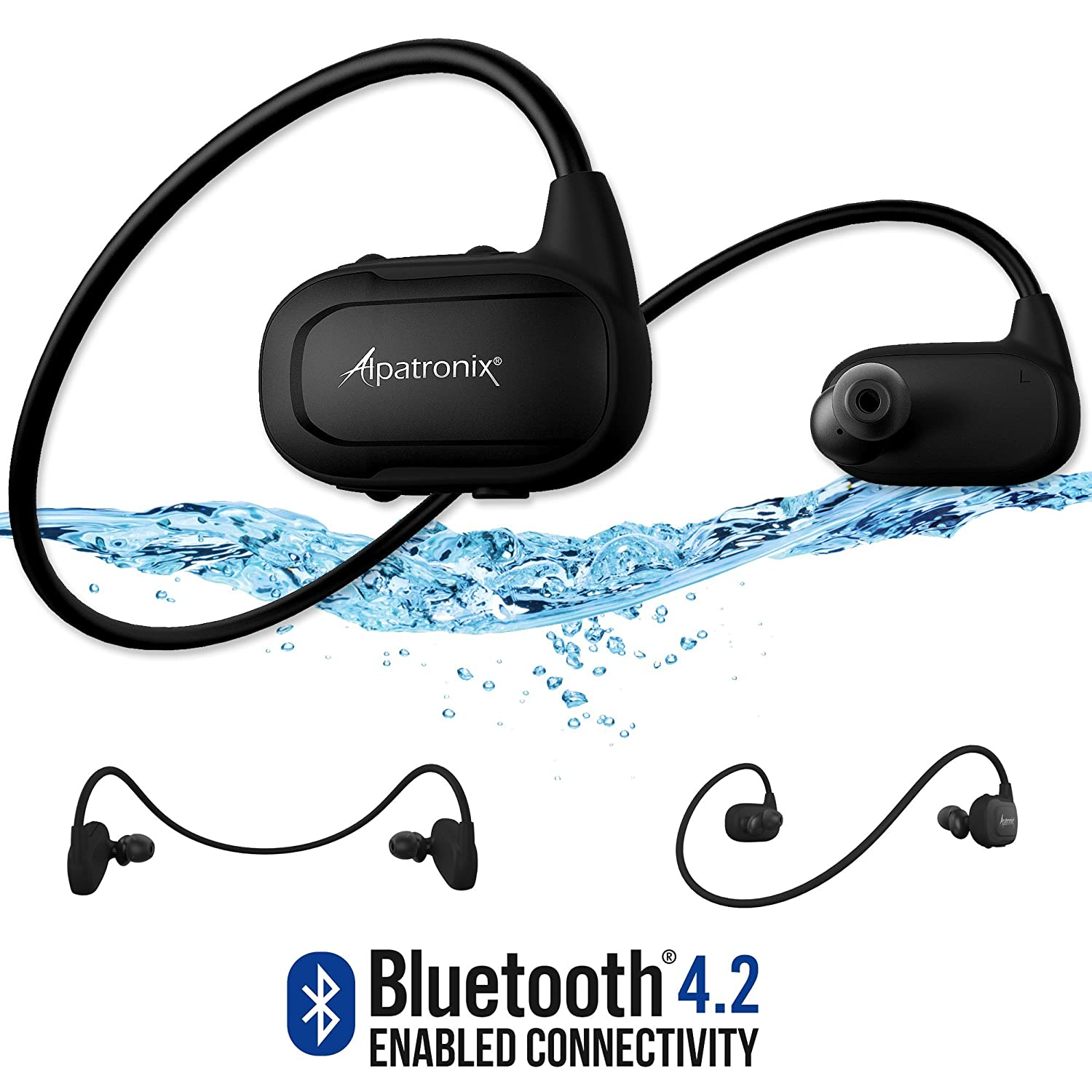 [Upgraded] Waterproof Bluetooth Earbuds, Alpatronix [HX250] BT 4.2 IPX7 Wireless Sweatproof Sport Headphones & Headset w/Mic, 8GB Built-in Flash Drive for Swimming and Running Earphones - Black