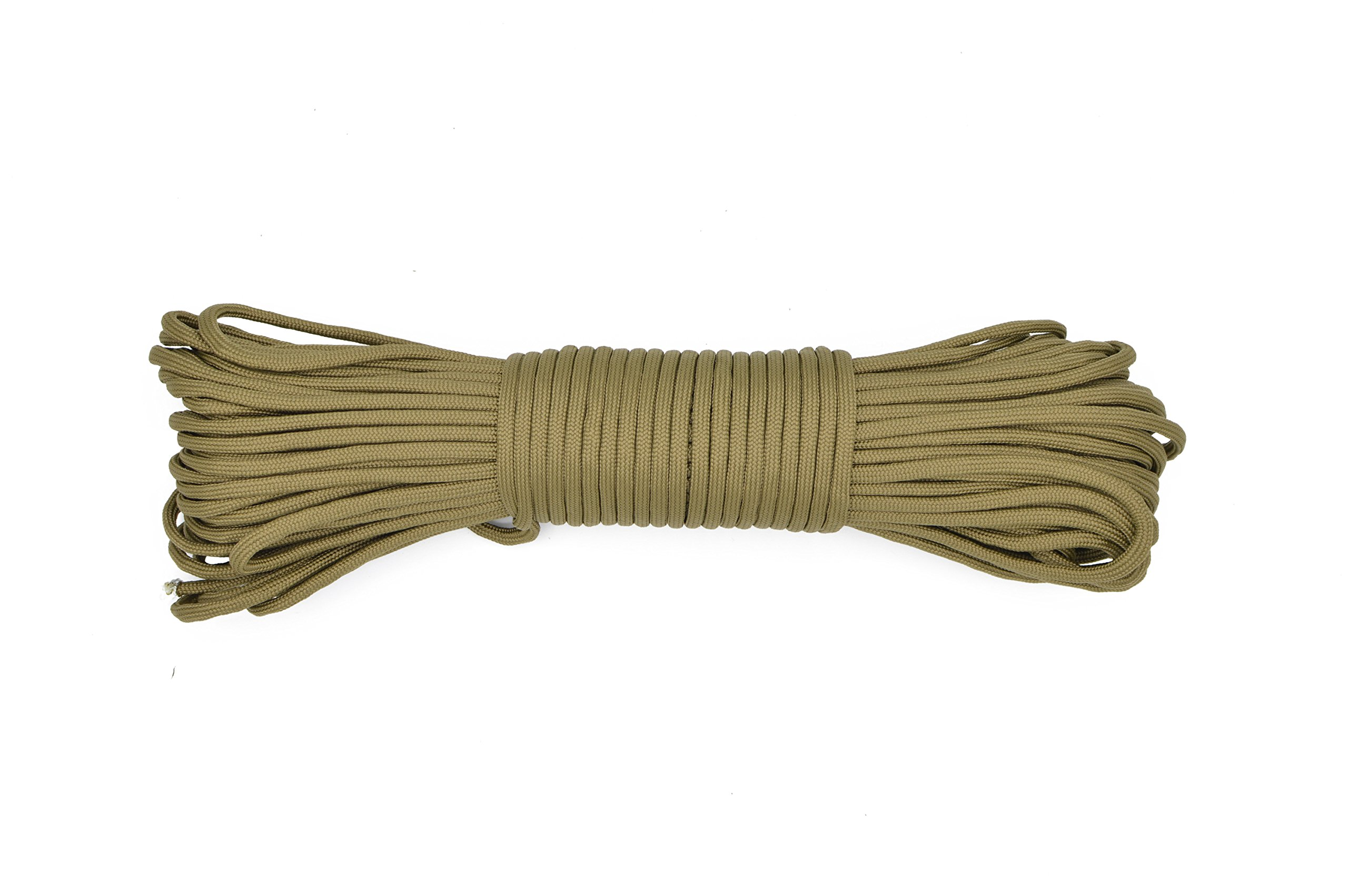 Paracord Rope 550 Type III Paracord - Parachute Cord - 550lb Tensile Strength - 100% Nylon - Made In The USA (Coyote Brown, 50 Feet)