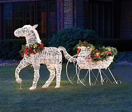 chistmas 10 lighted horse drawn sleigh outdoor yard decoration - Christmas Lighted Horse Carriage Outdoor Decoration
