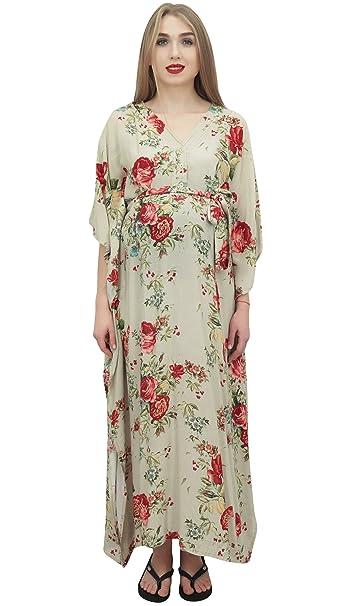 Bimba Menta Verde Menta Impresa Floral Kaftan con Cinturon Maternidad Maxi Vestido-52