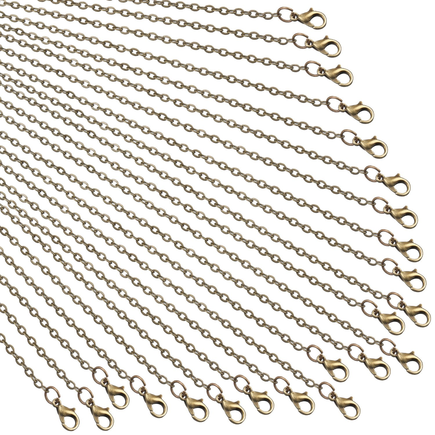 TecUnite 24 Pack Bronze Link Cable Chain Necklace DIY Chain Necklaces (18 inch) TecUnite-Chain Necklace-01