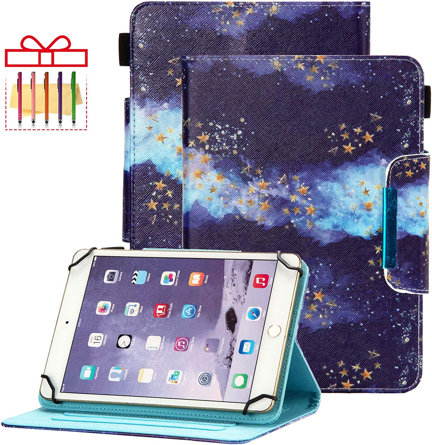 "Popbag Universal Case for 7 Inch Tablet - Stand Wallet Fold Cover for Galaxy Tab 7 / Dragon Touch 7 / Fire 7 / Onn 7"" / RCA Voyager 7.0 / HDX 7 / Huawei T3 / Lenovo Tab 7 Inch Tablet, Blue Starry Sky"