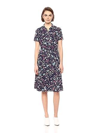25ca28c0f953 Nanette Nanette Lepore Women's Ss Pintuck Printed Chiffon Shirtdress, Navy  Multi, ...