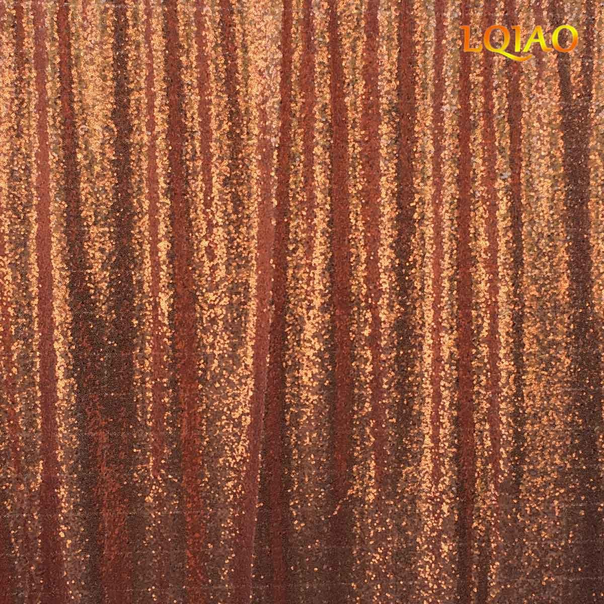 LQIAO 20x10ft-Sequin Backdrop Rose Gold Sequin Curtain Photography Booth Backdrop for Wedding/Party Decoration(600x300cm)
