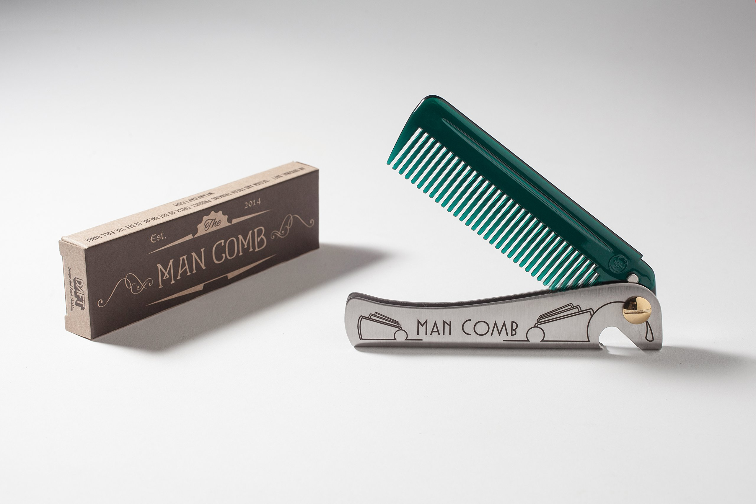 DAFT® 'Special Edition' Man Comb, Folding Metal Pocket Comb For Men, Bearded Man Comb With Handle, The Ultimate Tool for your Hair, Beard and Beer, (Dark Green/Jade)