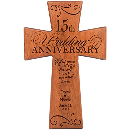 Amazon Personalized 15th Wedding Anniversary Cherry Wood Wall