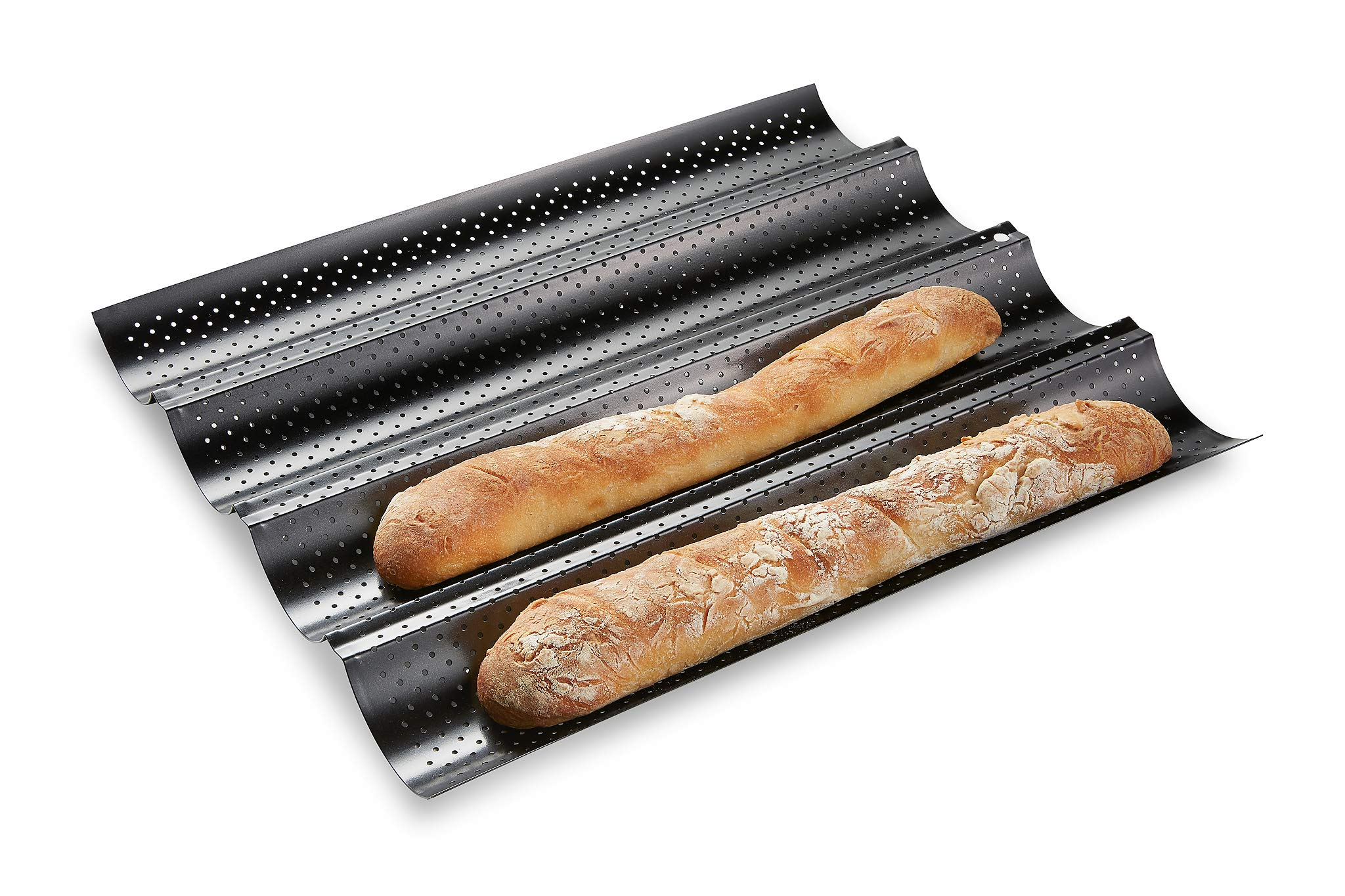 French Bread Baking Pan , Premium Metallic Carbon Steel Baguette Nonstick Tray Baker Board, Perforated Italian Sub Long Roll, Baggette Sourdough Loaf Professional Kitchen, Bakers Dough Making Mold by FlexWare