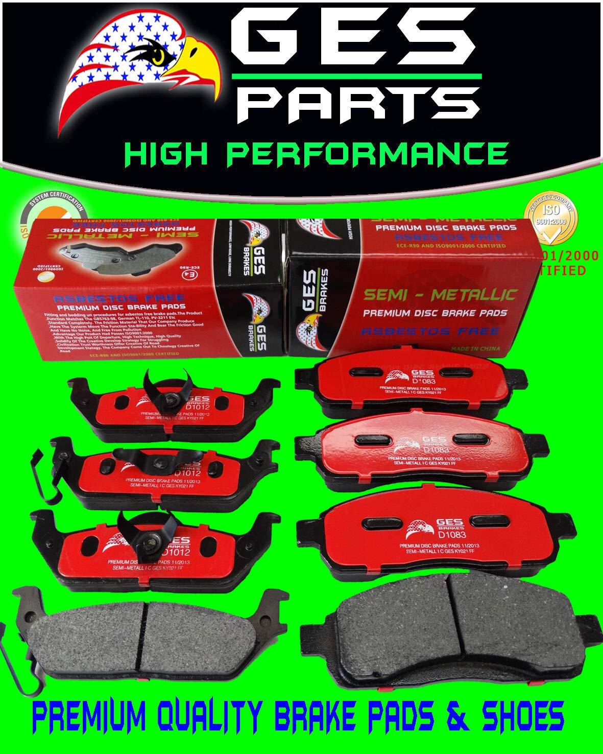 GES PARTS 2 Sets 04-08 Fits Ford F150 Front & Rear Premium Quality Brake Pads D1083 / D1012 by GES PARTS