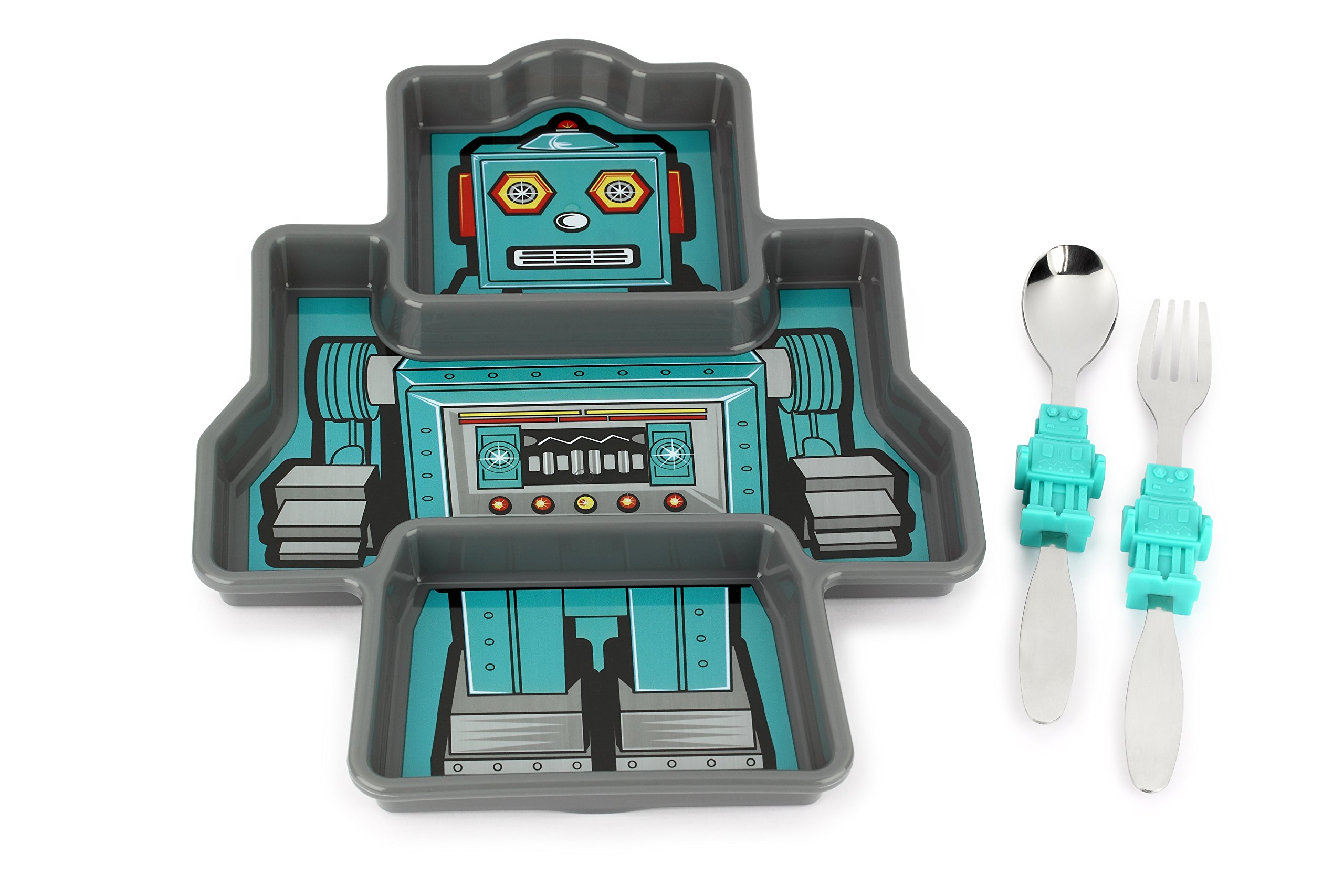 KidsFunwares Me Time Meal Set (Robot) - 3-Piece Set for Kids and Toddlers - Plate, Fork and Spoon that Children Love - Sparks your Child's Imagination and Teaches Portion Control - Dishwasher Safe