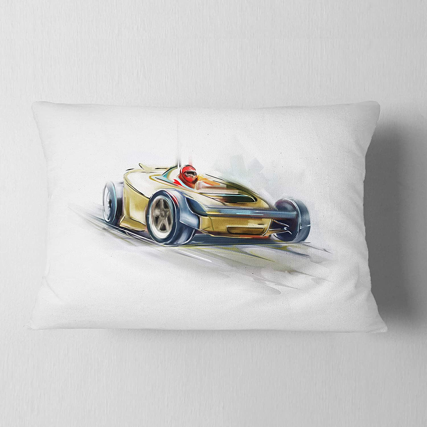 Sofa Throw Pillow 12 In Insert Printed On Both Side In Designart Cu7323 12 20 Yellow Formula One Digital Art Car Lumbar Cushion Cover For Living Room X 20 In Throw Pillow Covers Bedding