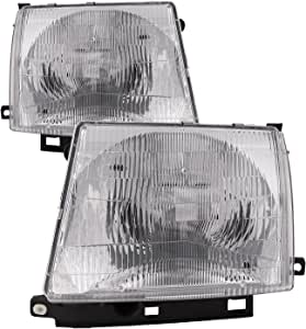 HEADLIGHTSDEPOT Chrome Housing Halogen Headlights Compatible With Toyota Tacoma 1997-2000 Includes Left Driver and Right Passenger Side Headlamps