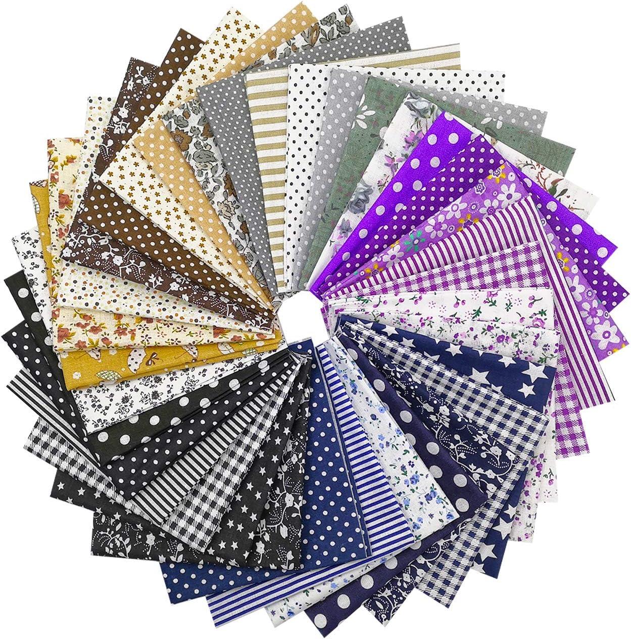 Misscrafts 50pcs 20 x 20cm Cotton Fabric Squares Bundle Patchwork Pre-Cut Quilt Squares for DIY Sewing Scrapbooking Quilting Dot Pattern Quilting Fabric