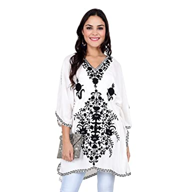 c5909d92af CRAFTBAZAR Women's Boho Black Embroidered White Kaftan Top (Free Size):  Amazon.in: Clothing & Accessories