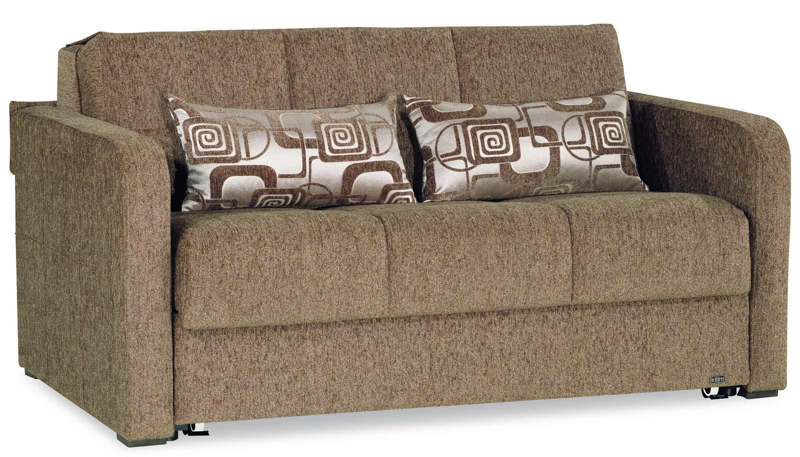 Casamode Ferra Fashion Loveseat Sleeper Brown Fabric Chennile